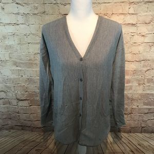 Eileen Fisher Button Down Gray Cardigan Sweater